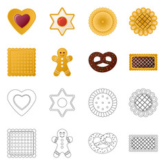 Vector design of biscuit and bake sign. Collection of biscuit and chocolate vector icon for stock.