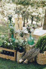 Flower decorations on wedding table
