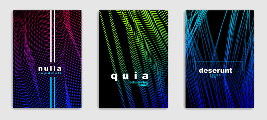 Line art vector minimalistic modern brochures set design, cover templates, geometric halftone gradient. For Banners, Placards, Posters, Flyers. Perfect and unlike, pattern texture.