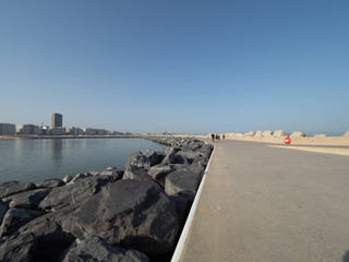 The skyline of Ostend, seen from the Western Strekdam.