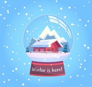 Winter is here snow globe with a small house, mountains and fir-tree under the snow. New Year gift. Winter snowy landscape with snowflakes flat vector illustration in pink mint colors.