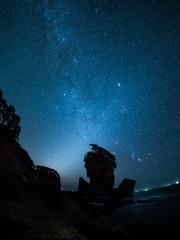 三王岩と冬の天の川