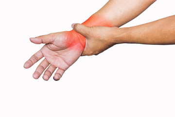 Man sore wrist isolated