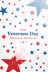 Veterans Day. Greeting card with font inscription on a starry background and balloons in the form of hearts. National American holiday event. Flat vector illustration EPS10