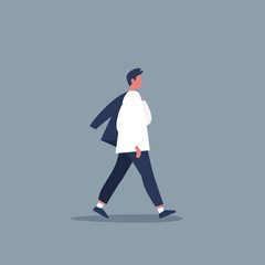 Young modern character walking with jacket over shoulder. Lifestyle. Flat editable vector illustration, clip art