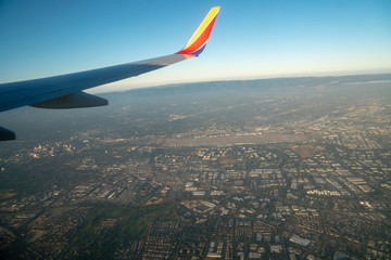 Aerial view of San Jose, California at sunrise shot from an airliner