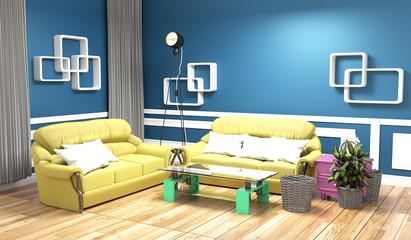 Yellow sofa on blue wall modern interior .3d rendering
