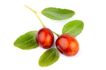 Unabi fruits (Ziziphus,jujube) with leaves isolated.