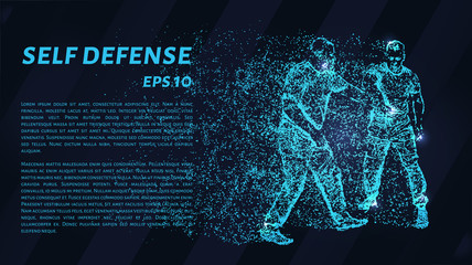 Particle self-defense. Assault on a man with a knife.