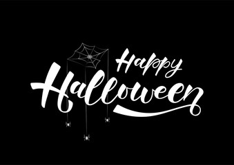 Happy halloween-hand drawn lettering. Holliday calligraphy for banner, poster, greeting card, party invitation. Vector illustration EPS 10.