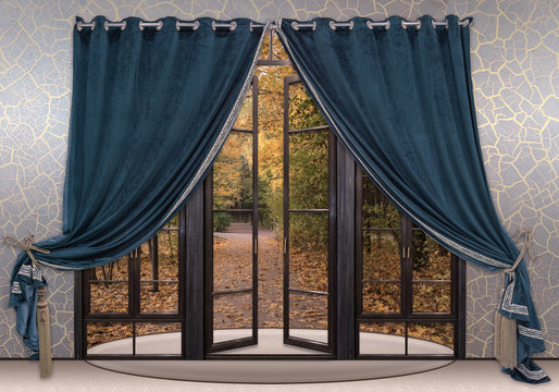 Blue velvet curtains are adorn the doorway in the hallway. A view through the open doors to the autumn landscape