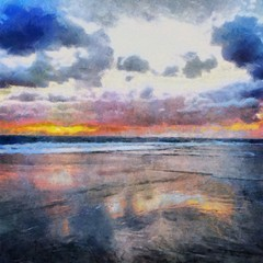 Hand drawing watercolor art on canvas. Artistic big print. Original modern painting. Acrylic dry brush background. Beautiful sea landscape. Charming sunset. Resort view. Exotic paradise.