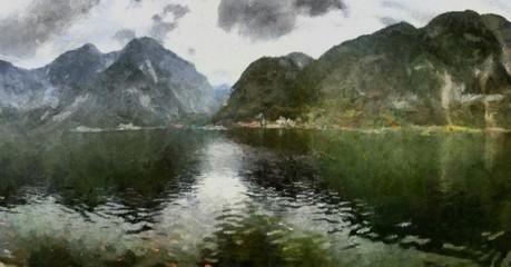 Hand drawing watercolor art on canvas. Artistic big print. Original modern painting. Acrylic dry brush background. Beautiful mountain landscape. Wonderful wild nature view. Traveling resort lake
