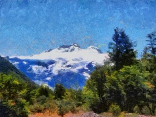 Hand drawing watercolor art on canvas. Artistic big print. Original modern painting. Acrylic dry brush background. Beautiful mountain landscape. Wonderful wild nature view. Traveling resort.