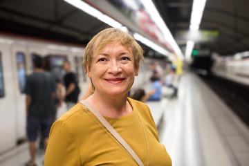 female passenger riding underground
