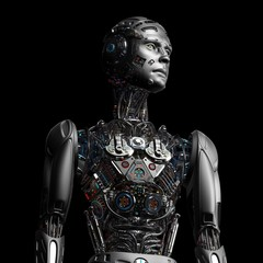 Robot Man or very detailed futuristic cyborg with uncovered internal body system on black background. 3D Render