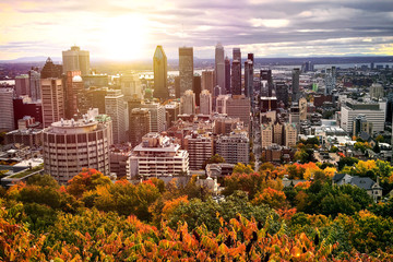 Aluminium Prints Canada Montreal Canada City sunset