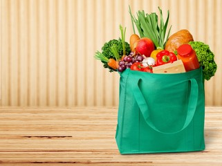 Full shopping  bag, isolated over  background