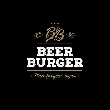 Beer and Burger Grunge Black. Vector illustration