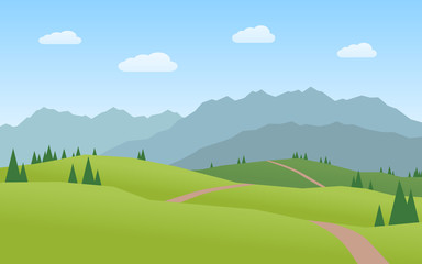 mountains and hills landscape flat design