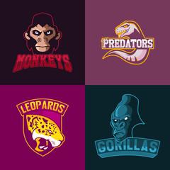 Set of modern professional logo for sport team. Monkeys predators leopards gorillas mascot Vector symbol