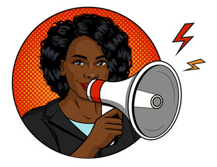 Vector color illustration in pop art style. African American woman with a loudspeaker in her hand. A beautiful dark skin woman speaks into a microphone. Successful female boss holds megaphone
