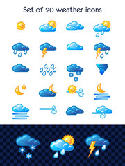 Set of 20 weather icons. Vector illustration.