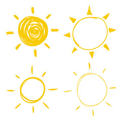Set vector doodle icons of the sun with sunbeam. Hand drawn element.