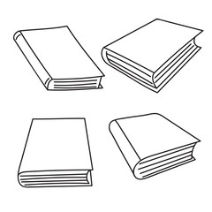 Set of vector sketch hand drawing book icons.