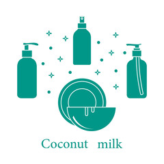 Coconut milk for cosmetics and care products.
