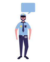 policeman character in uniform speech bubble