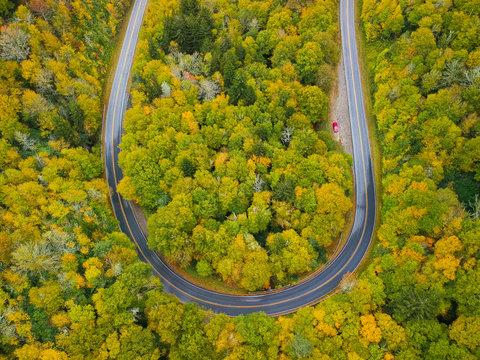 Aerial drone view of U Turn Road Curve in Autumn / Fall foliage overhead. Blue Ridge in the Appalachian Mountains near Asheville, North Carolina.