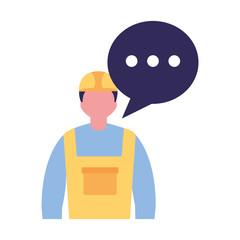 builder worker character speech bubble