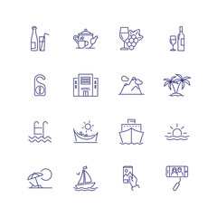 Vacation line icon set. Hotel, palms, cruise ship. Tourism concept. Can be used for topics like resort, travel, journey