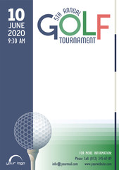 Annual Golf Tournament poster template. Place for your text message. Vector illustration.
