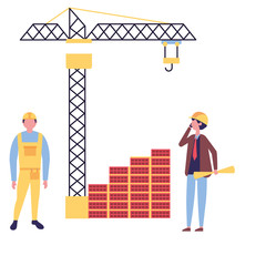 architect and foreman with blueprints crane construction