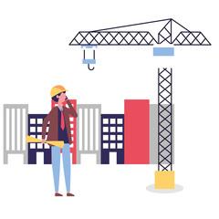 architect man with blueprints crane construction