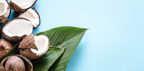 Coconut with tropical leaves on a blue background. Flat