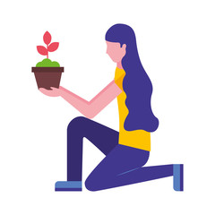 woman on the knee holding pot flower