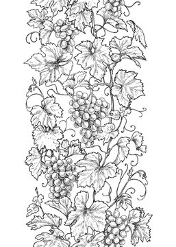 Seamless Vertical Pattern with Grapes