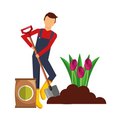 gardener man planting flower with sack soil and shovel