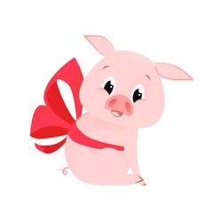 Pretty pig with bow. Ribbon, gift, animal. Symbol of new year concept. Can be used for greeting cards, posters, leaflets and brochure