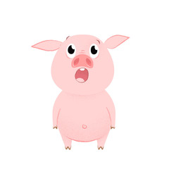 Shocked pig opening mouth and looking up. Emotion, wow, unexpected. Symbol of year concept. Can be used for greeting cards, posters, leaflets and brochure