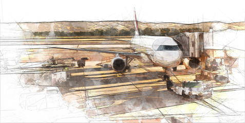 airplane at the airport sketch