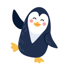 Cute vector illustration of dancing penguin isolated on white background. Flat icon design.