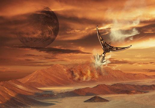 Mission to Mars. Futuristic concept