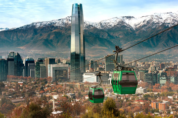 Cable car in San Cristobal hill, overlooking a panoramic view of Santiago de Chile Wall mural