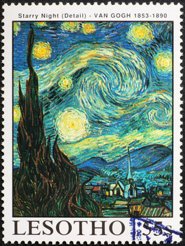 Detail from Starry Night by Van Gogh on stamp
