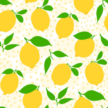 Seamless lemon pattern - citrus illustration with leaves repeating on yellow dotted background