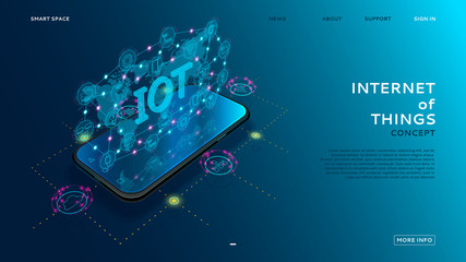 Internet of things technology concept. Smart app shows global Internet of Things on the screen. Vector illustration with wireless connections with icons of smart electronics.